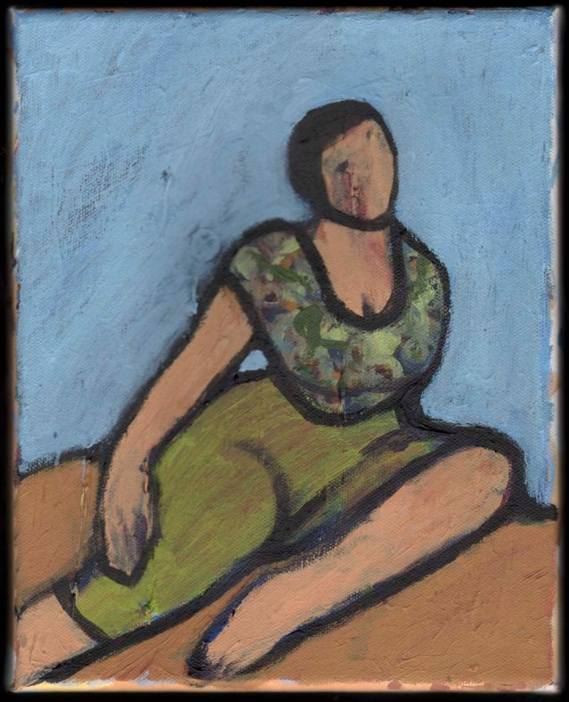 large-bosomed woman in semi-repose, 2013, acrylic on canvas, 20 x 25 cm