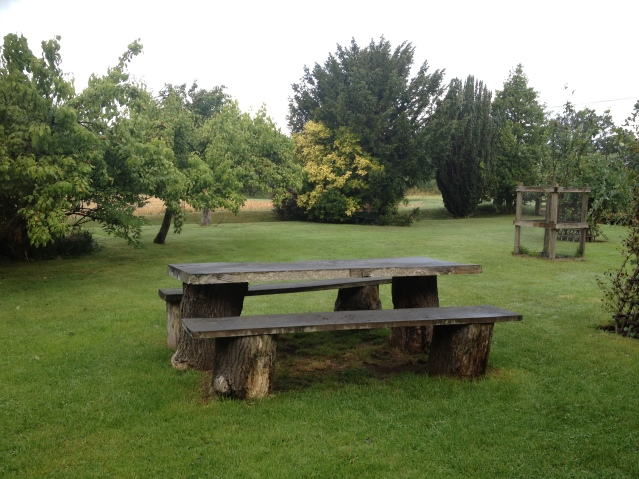 this picnic table set is basically wooden slabs placed on tree stumps. i actually managed to sit on the bench and write in my diary without incident