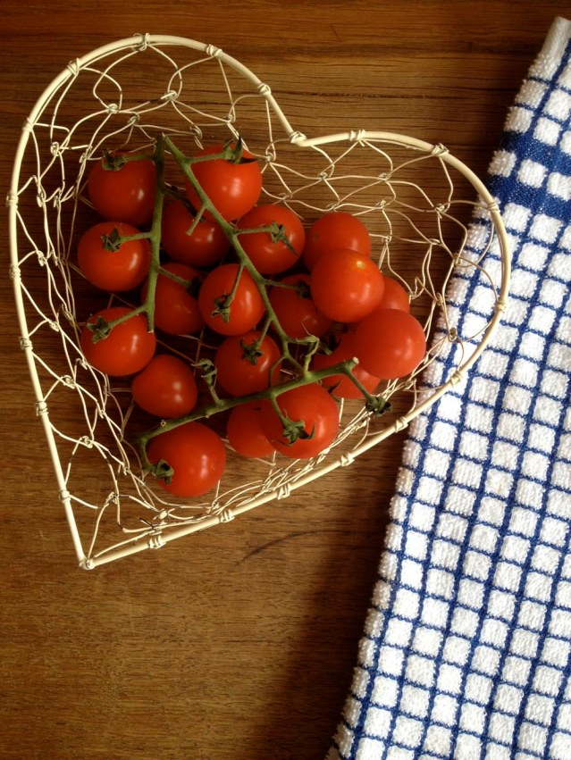 cherry tomatoes in a heart