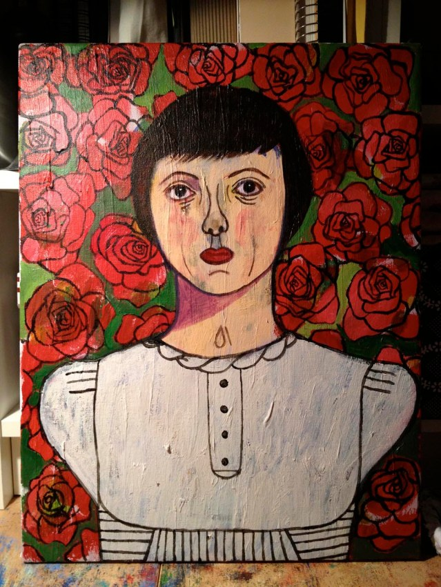 and she's done. rose & the roses, 2013, acrylic on canvas, 35cm x 45cm