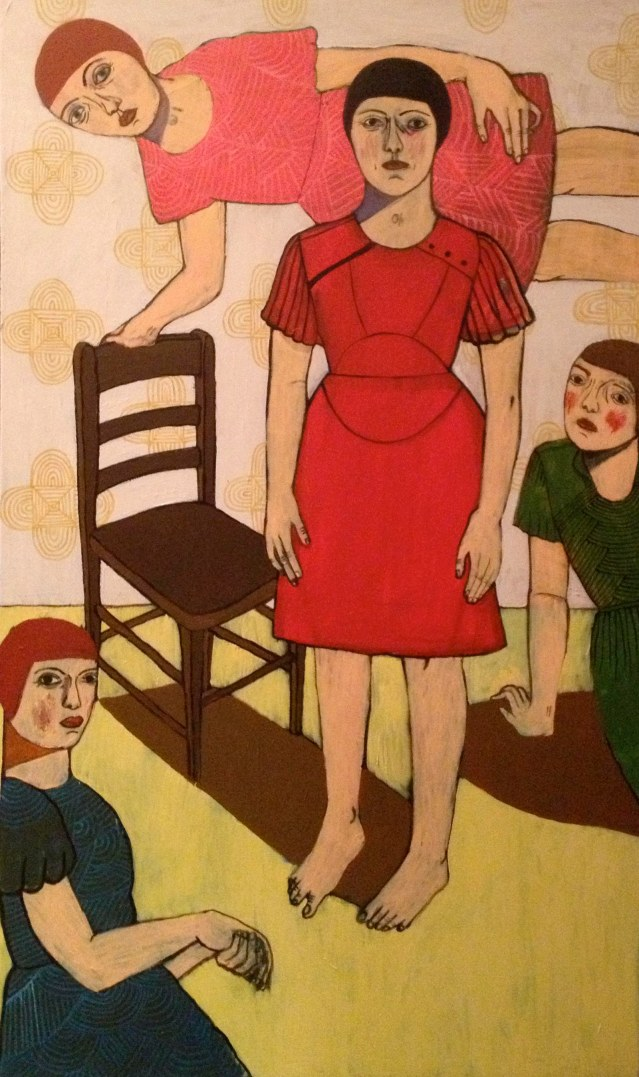 four in a room with a chair, 2013, acrylic on canvas, 91 x 152cm