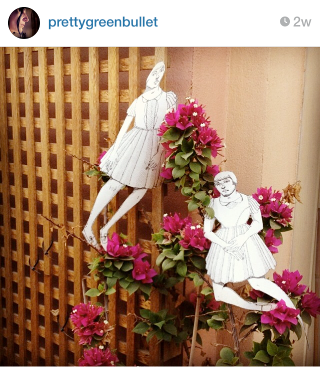 my girls say goodbye to the bougainvilleas