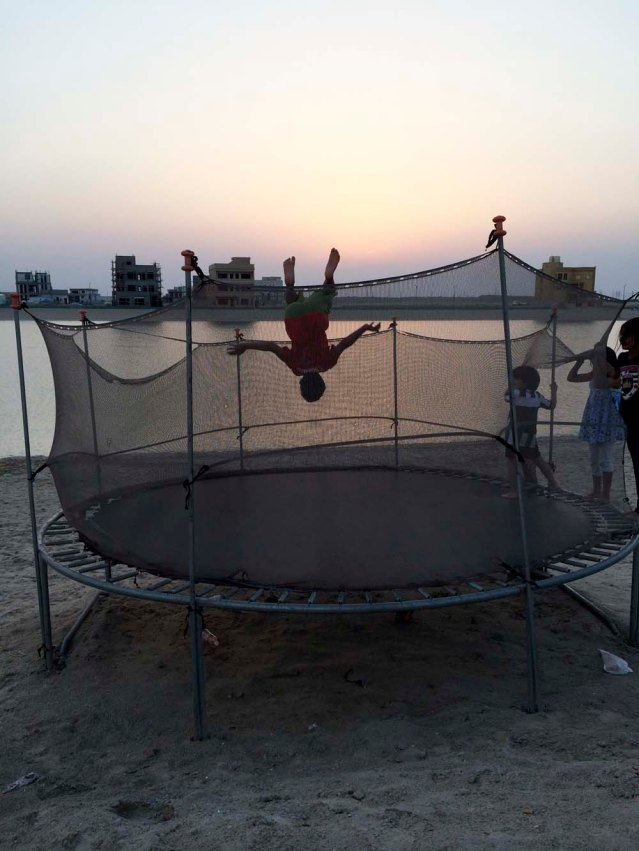 boy on a trampoline. clearly the trampoline was the highlight of my two-hour visit. by dusk i was ready to drive back home to peace and quiet