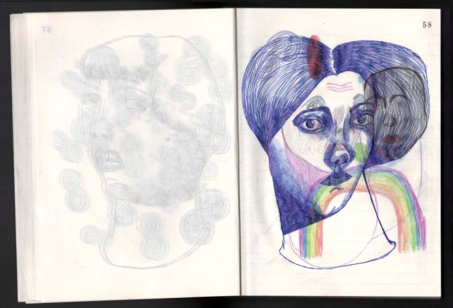the hair } original in pencil, color pencil, and ballpoint pen