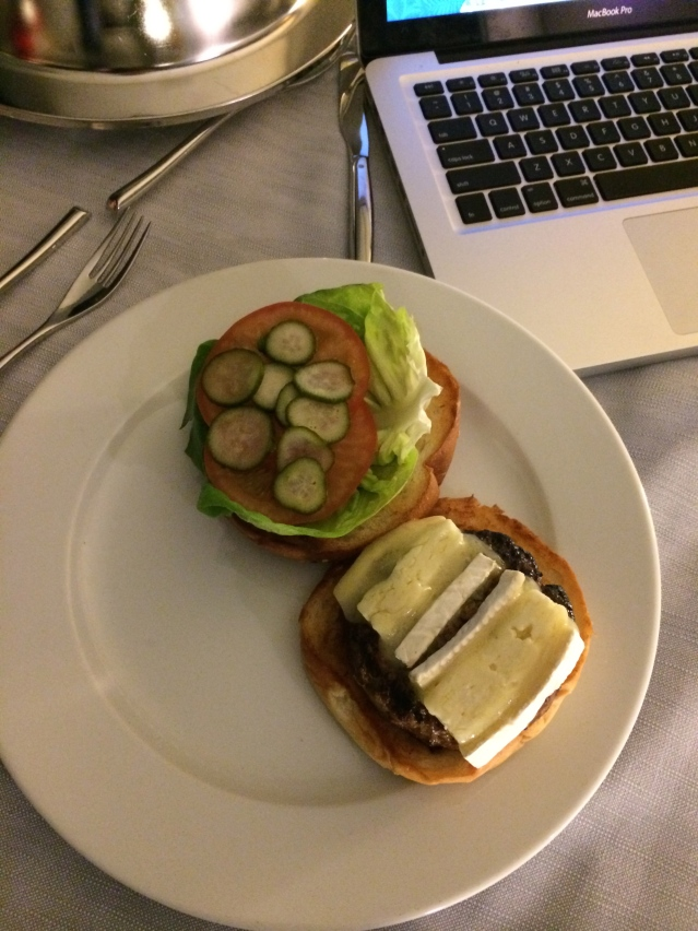 back in the room, it's a market burger for me. medium rare with brie, pickles and truffle mustard. yum!