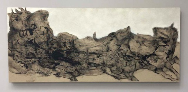 black wound } mourad's paintings are like rorschach tests. this one reminds me of mutla'a ridge up north, a rivulet, a herd of dogs. i love it