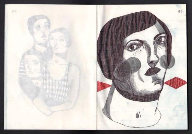 diamondback } original in ballpoint pen and pencil
