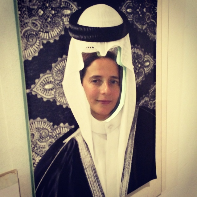while waiting for the concert to begin, reem and i found these mirrored arab head dress templates hanging in the breezeway, so naturally we decided to do some instagramming. this one is mine: reem as a kuwaiti groom