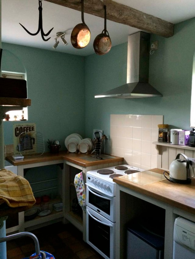a few steps down, the kitchen. one of the first things i was attracted to (even before i arrived; i saw it in the photos) was the meat hook. normally my mind would wander into slasher-movie territory, but there was no way i was going to feel threatened by this