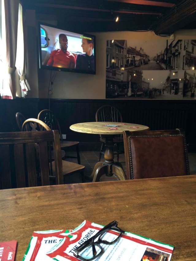 like the game at 5! back at the george. i had such a good pizza but was upset that chile lost