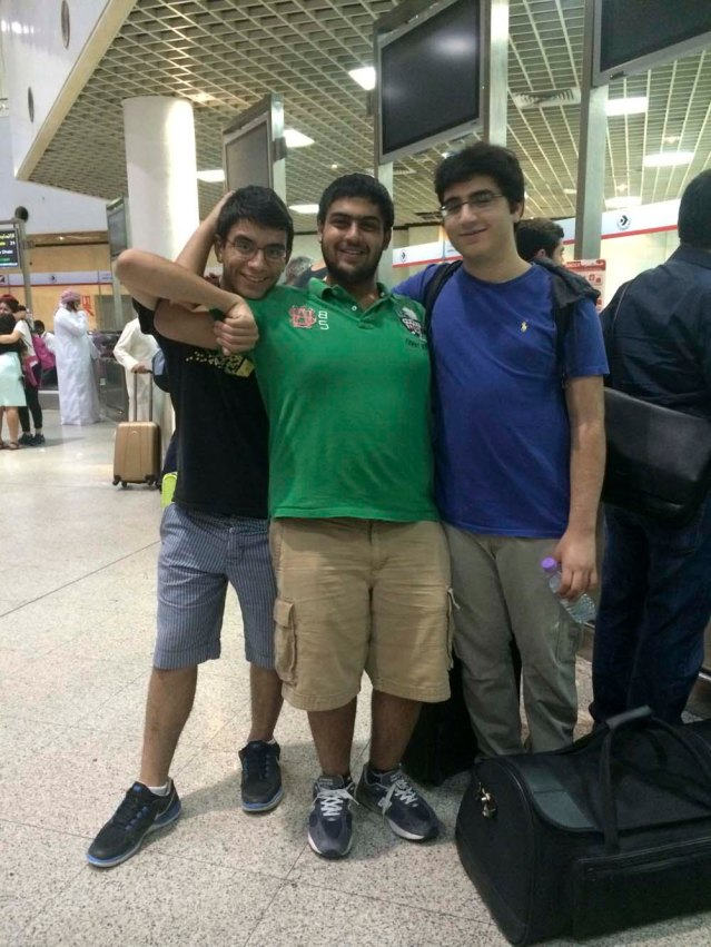 yousef, bader and khaled at the airport on august 9th. the hardest part of this night was driving bader home
