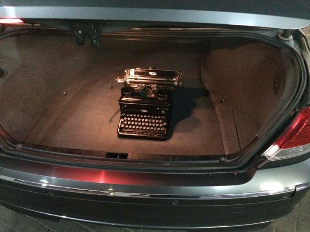 later on my son's typewriter in the trunk of my mom's beemer. very classy indeed