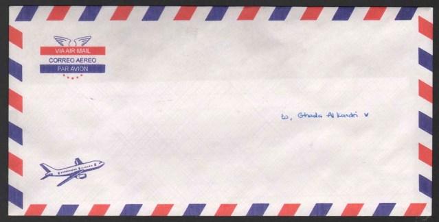 fatima alzahraa ahmad abodomoma. rectangular envelope par avion, with airplane. envelope unsealed. addressed to: ghada al kandri