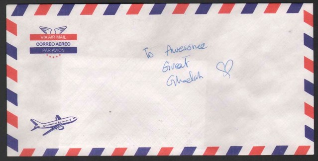 fatma abdulsalam. rectangular envelope par avion, with airplane. Sealed (licked). Addressed to: awesome great ghadah (love heart)