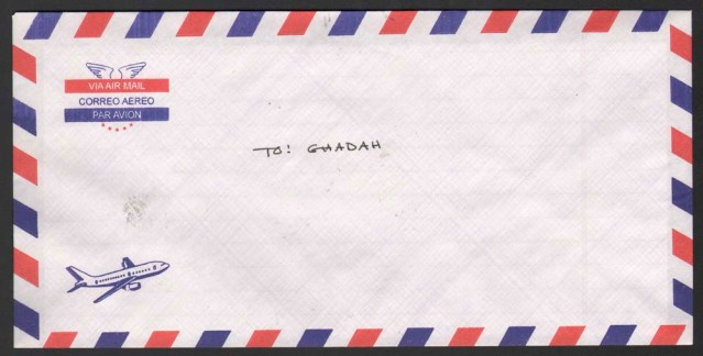 frederick wilcott. rectangular envelope par avion, with airplane. sealed (licked). addressed to: ghadah