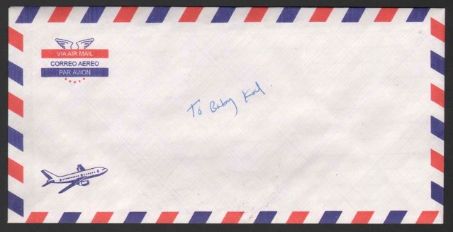 jana alnaqeeb. rectangular envelope par avion, with airplane. unsealed. addressed to: baby kal