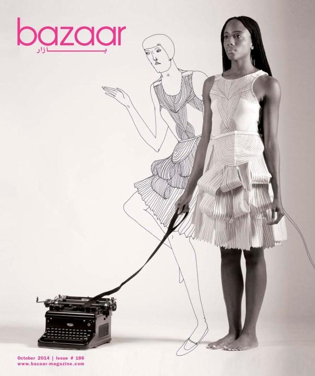 cover of october's bazaar magazine featuring dawnn karen, her pet typewriter, and eve