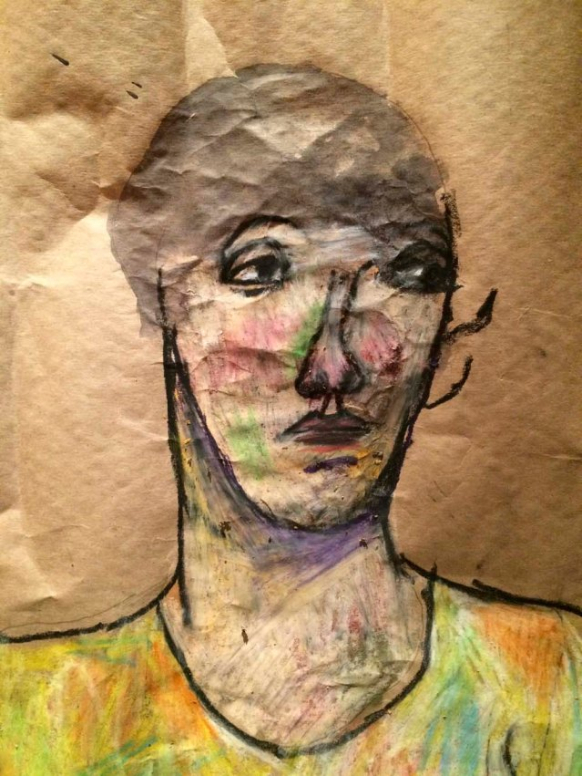i've always enjoyed the quality of oil pastels. here i used parcel paper i bought from ace