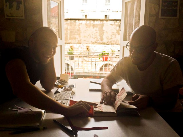 hussein (left) and david look through my journal