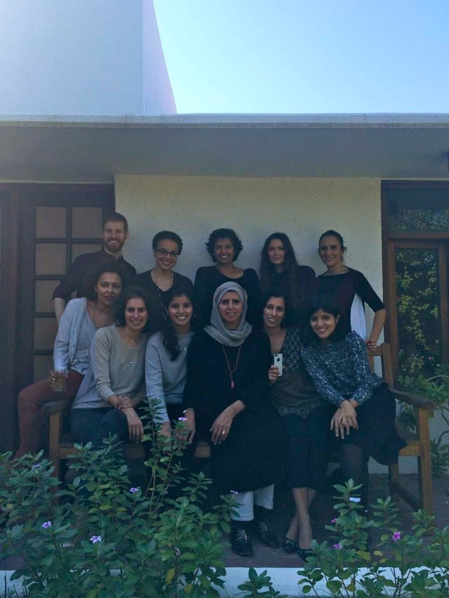 in the zeri crafts front garden. sitting left to right: rabaa, sarah, huda's daughter, huda, laila, huda's daugher farah. standing left to right: matt, farah, deema, georgia and me