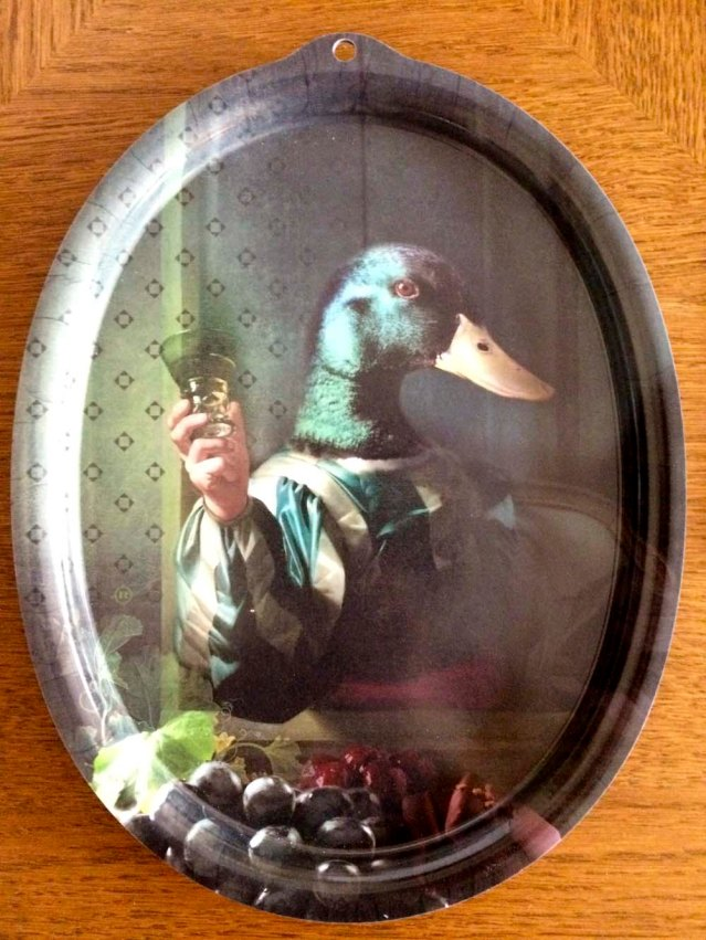 a wonderful tray with a man-handed mallard! what shall i name him?