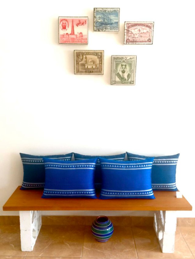 these cushions have been my favorites since the beginning. i love the subtle variations in blue. and of course matt corbin bishop's stamps round up the look very nicely