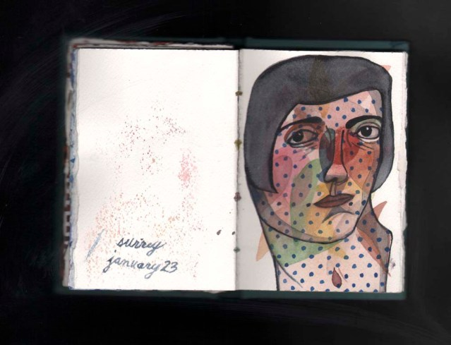 watercolor sketchbook } polka dot face