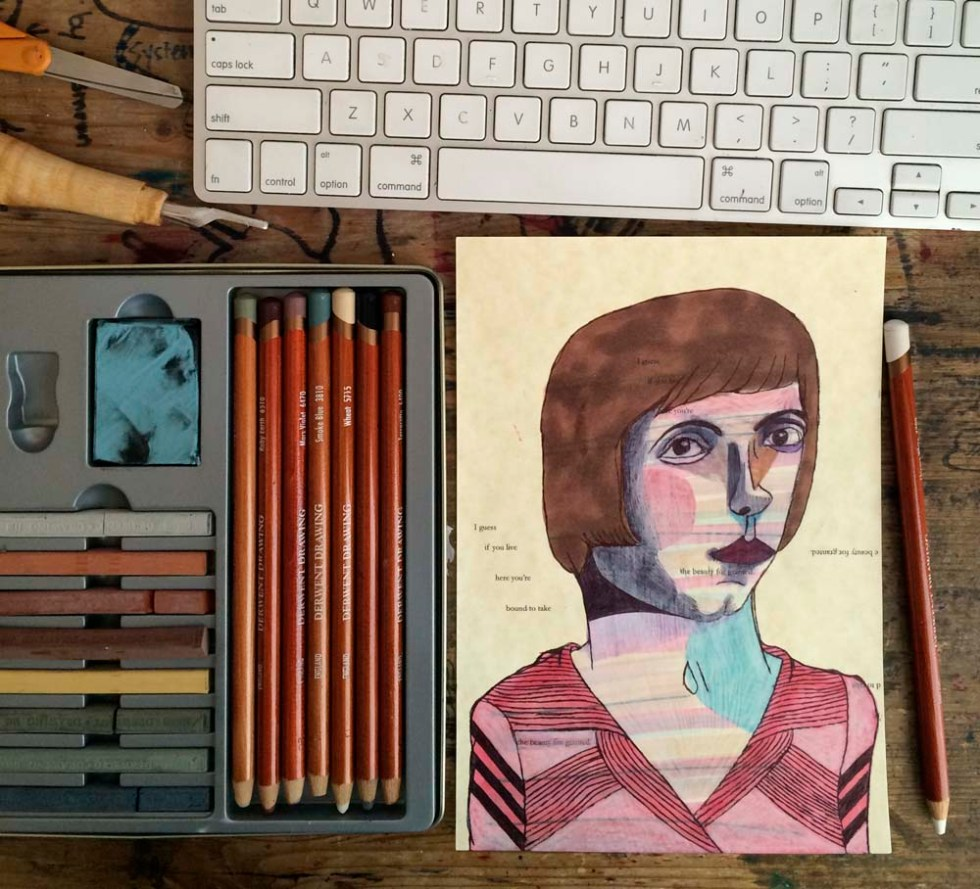 my kingdom for a sharpener } as many erasers as exist in this home, i can never find a sharpener. i have no sharpeners. so i improvise (ps. the white pencil in this picture was not sharpened by one of my improvisational sharpeners)