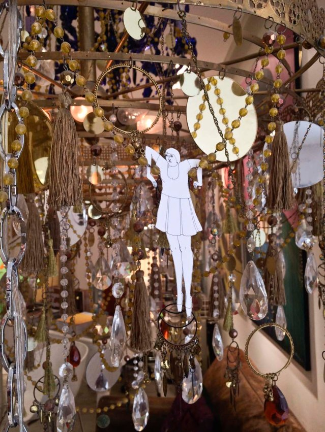 hanging from a beautiful chandelier