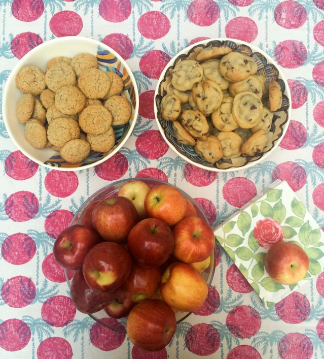 i baked my usual-and i must say quite renowned-chocolate chip cookies. i also made some less unhealthy oatmeal ones. and to counterbalance the diet, noor brought a bushel of red apples (and according to her, it's what eve would have served)