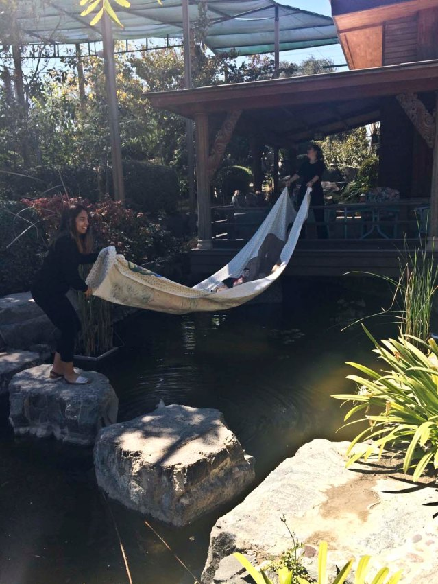 later on, i solicit the help of antonella and yasmine. i wanted a photo of the tapestry enjoying the pond by the guest lodge