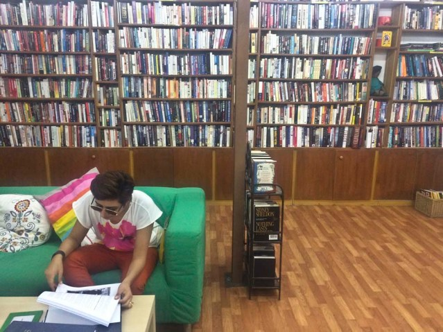 a little diversion with my cousin amina at the nearby bookstore in bayt lothan