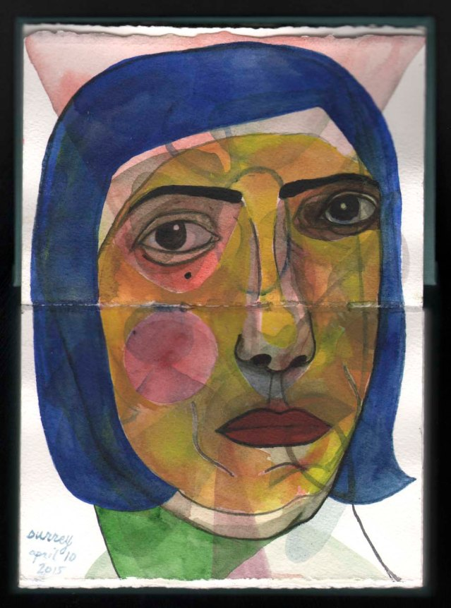 blue-haired woman