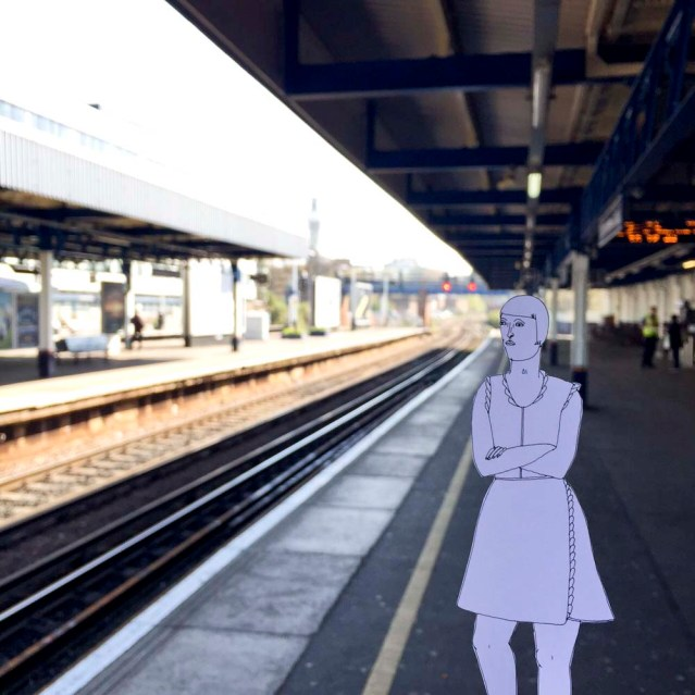eve is waiting at southampton central for her train. she's bored