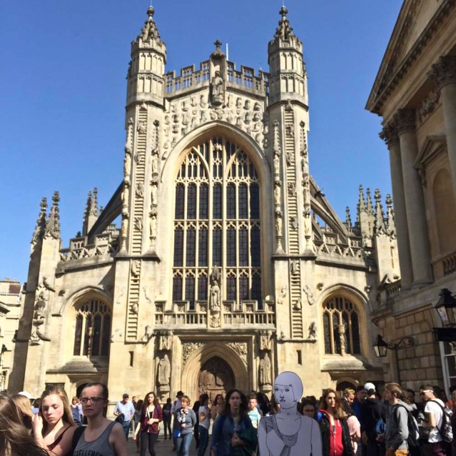 she visits bath abbey and the roman baths