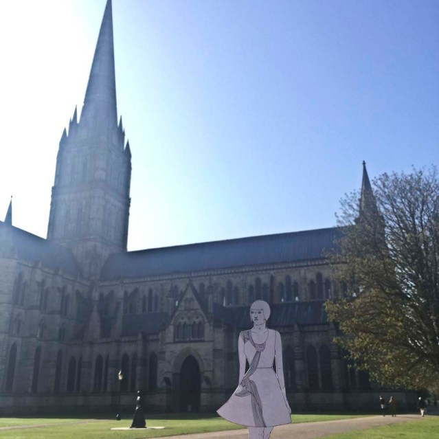 she visits the cathedral, which houses one of four remaining copies of the magna carta. she feels so lucky to be so close. but alas she's in a hurry