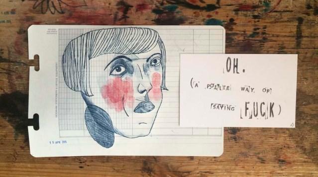 oh. stamped postcard by linda fennigbauer