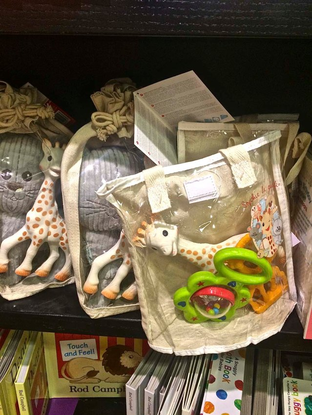 later i take the girls to nearby dorking for some groceries and 'window shopping' these sophie-the-giraffes remind me of baby khaldoun!