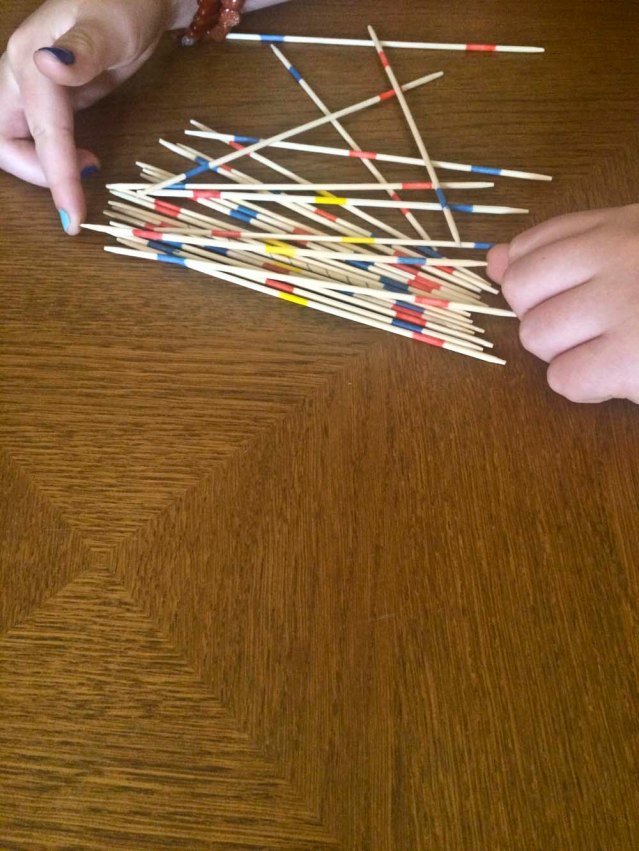 this morning we played pick-up-sticks at my place. we spent so much time arguing about the rules that by the time we started, it was time to pick up my children from school