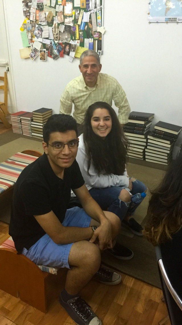 before the reading, my son yousef, his cousin yasmeen and their uncle adeeb (mai's husband) catch up on familial shenanigans