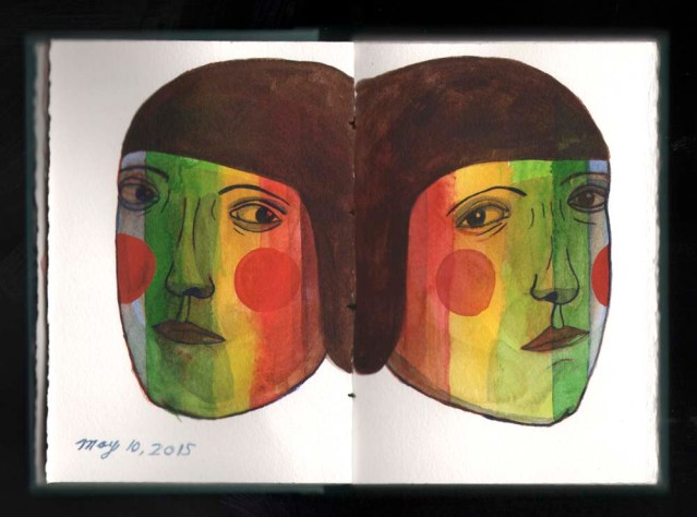 watercolor sketchbook } rainbow twins