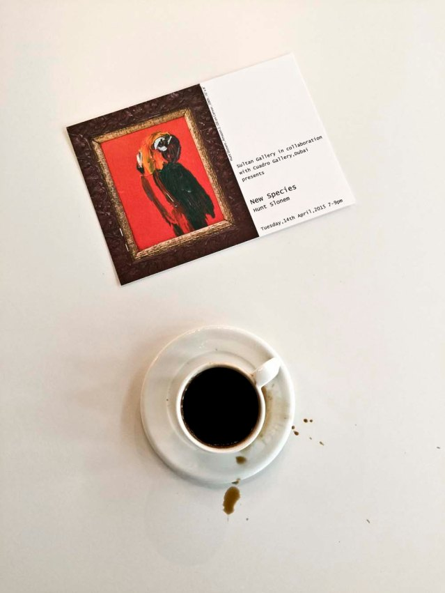 on a coffee-er note, i spilled some this morning while chatting with charmaine. i'm not a coffee drinker but it's my sultan gallery hot drink of choice, unsweetened
