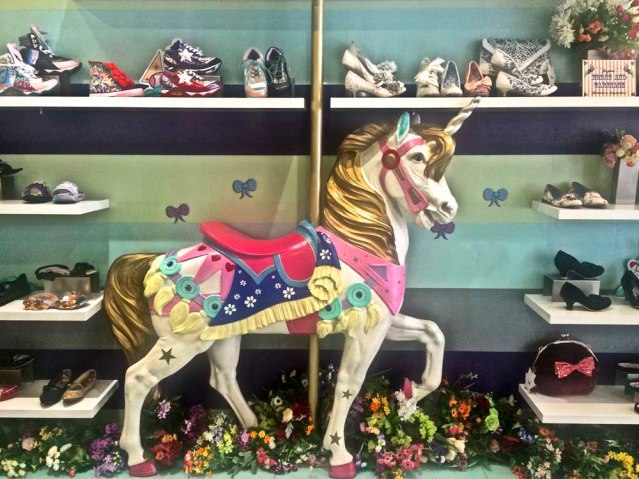 june 25 } i went on my first (too) successful shopping spree thursday morning. this is my favorite shoe store ever: irregular choice. the spectrum of shoes ranged from sophisticated quirky to outer-galactic zany. of course my preference was the former