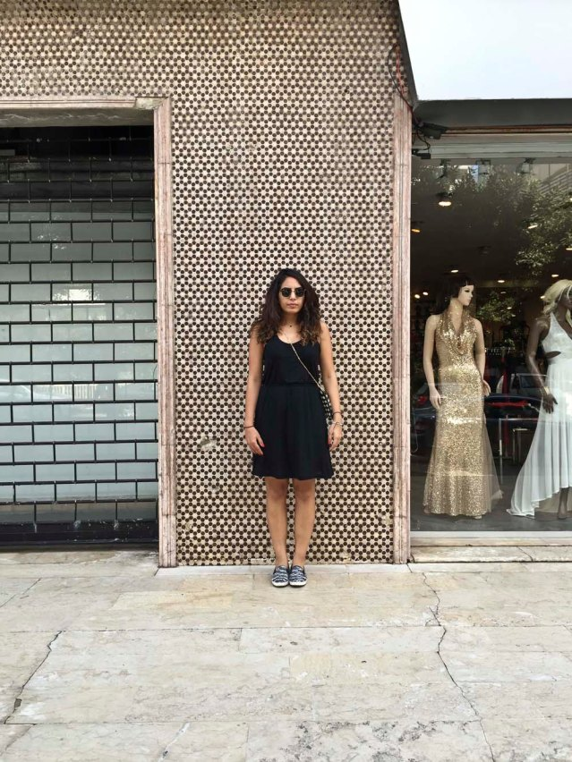 friday, july 31 } yasmine in front of the old emporio armani facade in verdun. a little after this we head back up to the jabal (mountain)