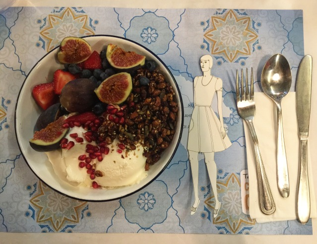 eve, figs, strawberries, lebneh, pomegranate, blueberries, cereal and nuts. imagine the explosion of flavors and texture in my mouth