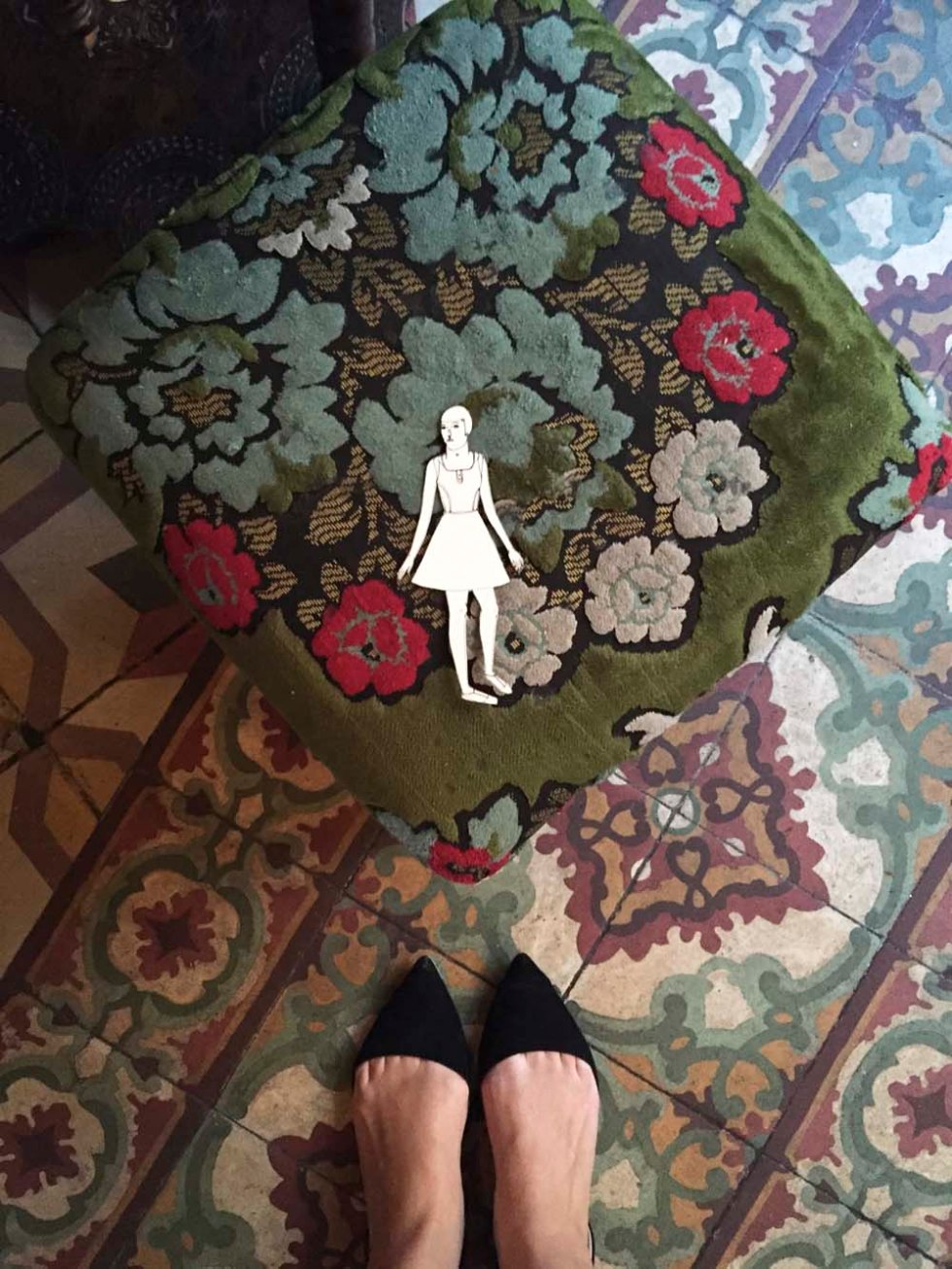 eve is in love with the floral motifs on the furniture and floor tiles
