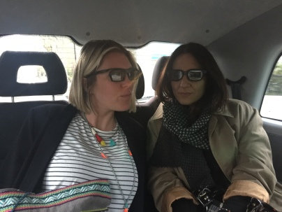 In the taxi with our glasses on. We're ready for a 3D Robert Downey Jr.