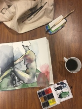 At night I join Eilidh for a life painting session at the Primrose Hill Community Centre. I am so rusty.