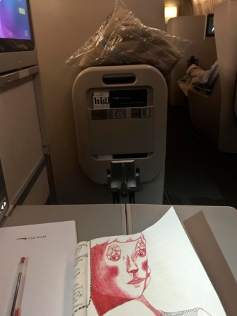 On the plane, Karma bumps me to Business Class.