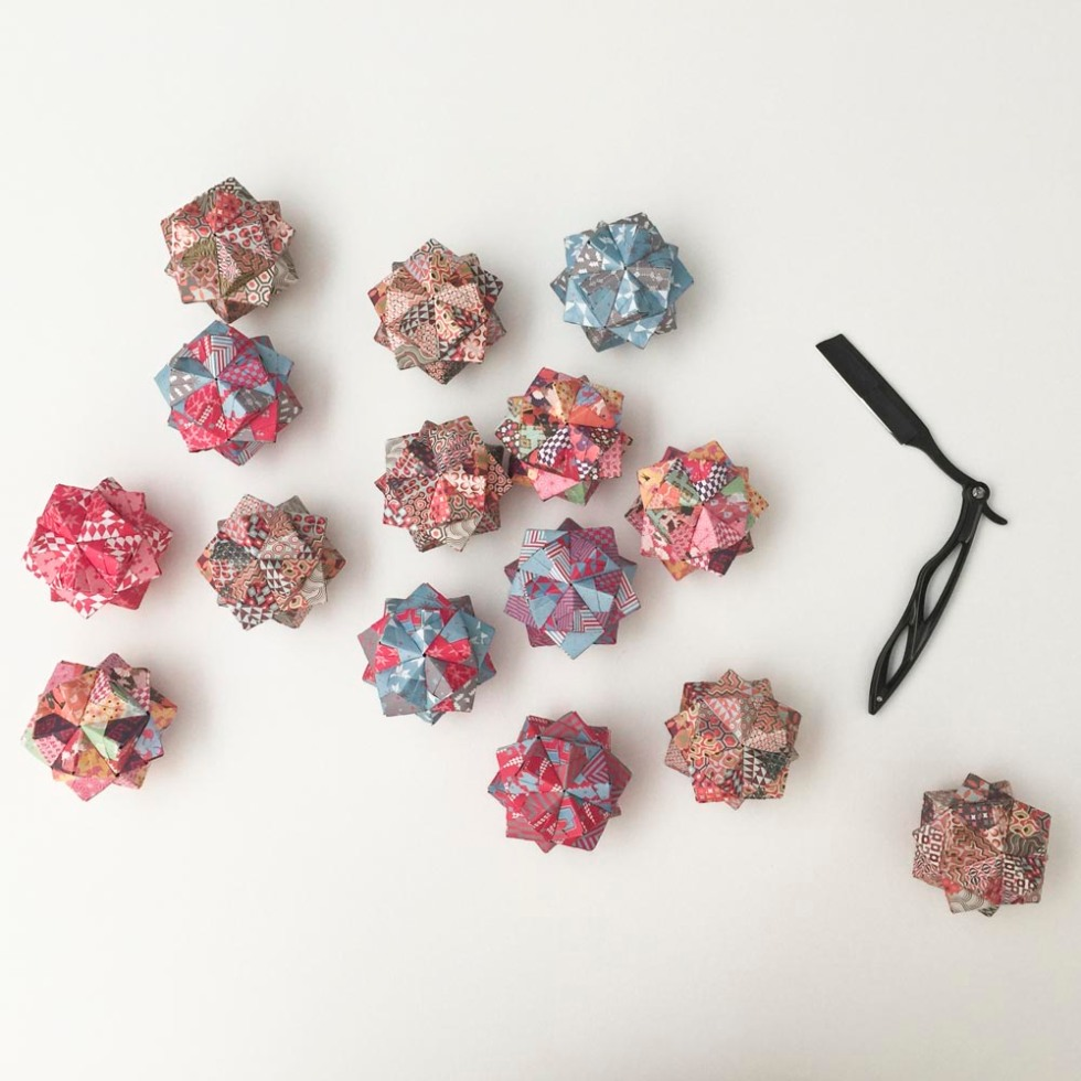 I could've played with you all day. These origami polyhedra were created with paper I got from my favorite local paper supplier LB o J'zazz.